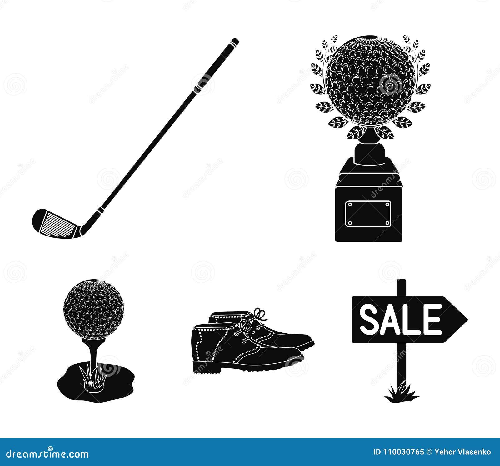 Kop, golfclub, bal op de tribune, golfspelerschoenen Pictogrammen van de golfclub de vastgestelde inzameling in de zwarte voorraa