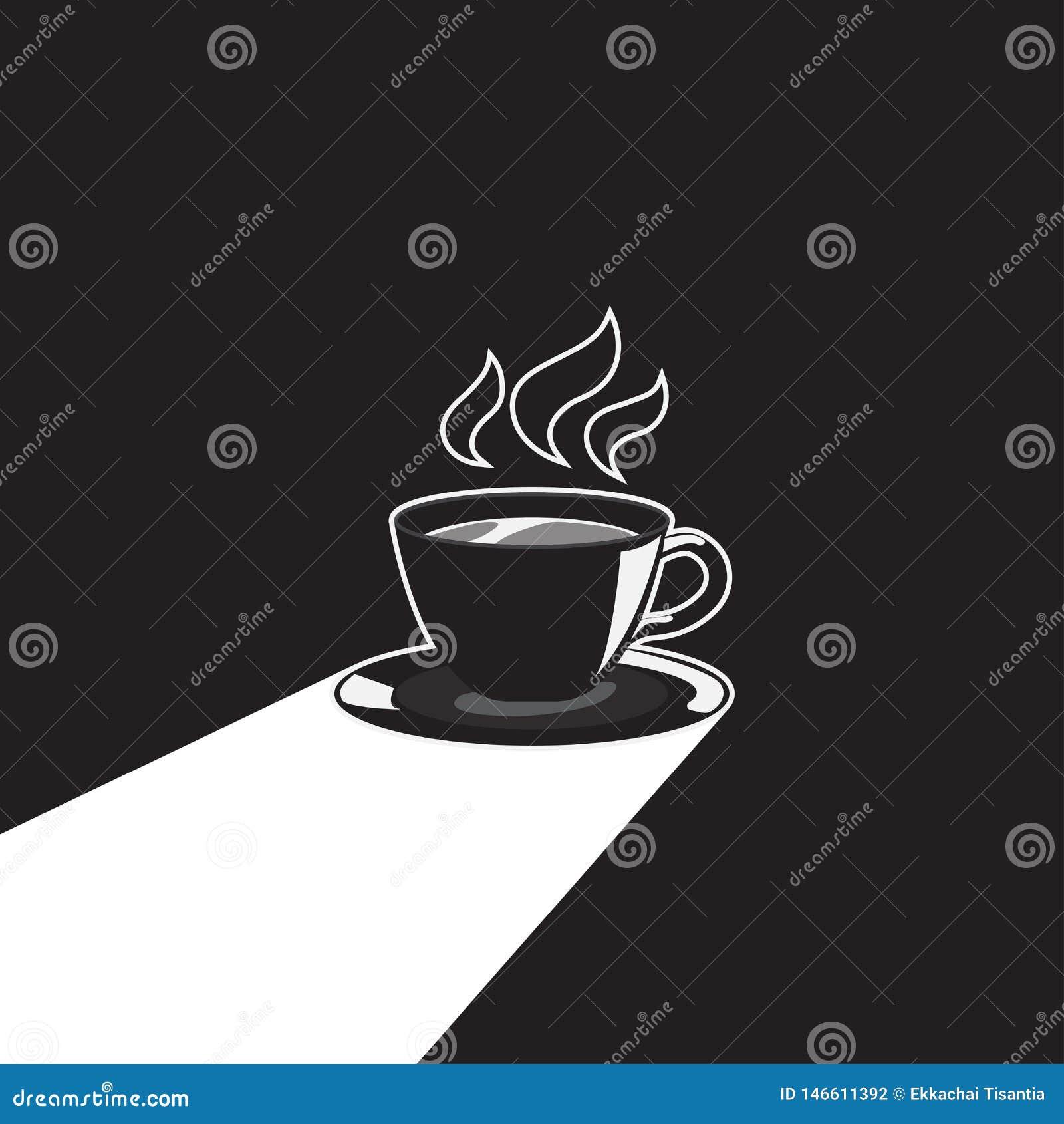 Kop van Koffie met Lange Schaduw Vector Illustratie
