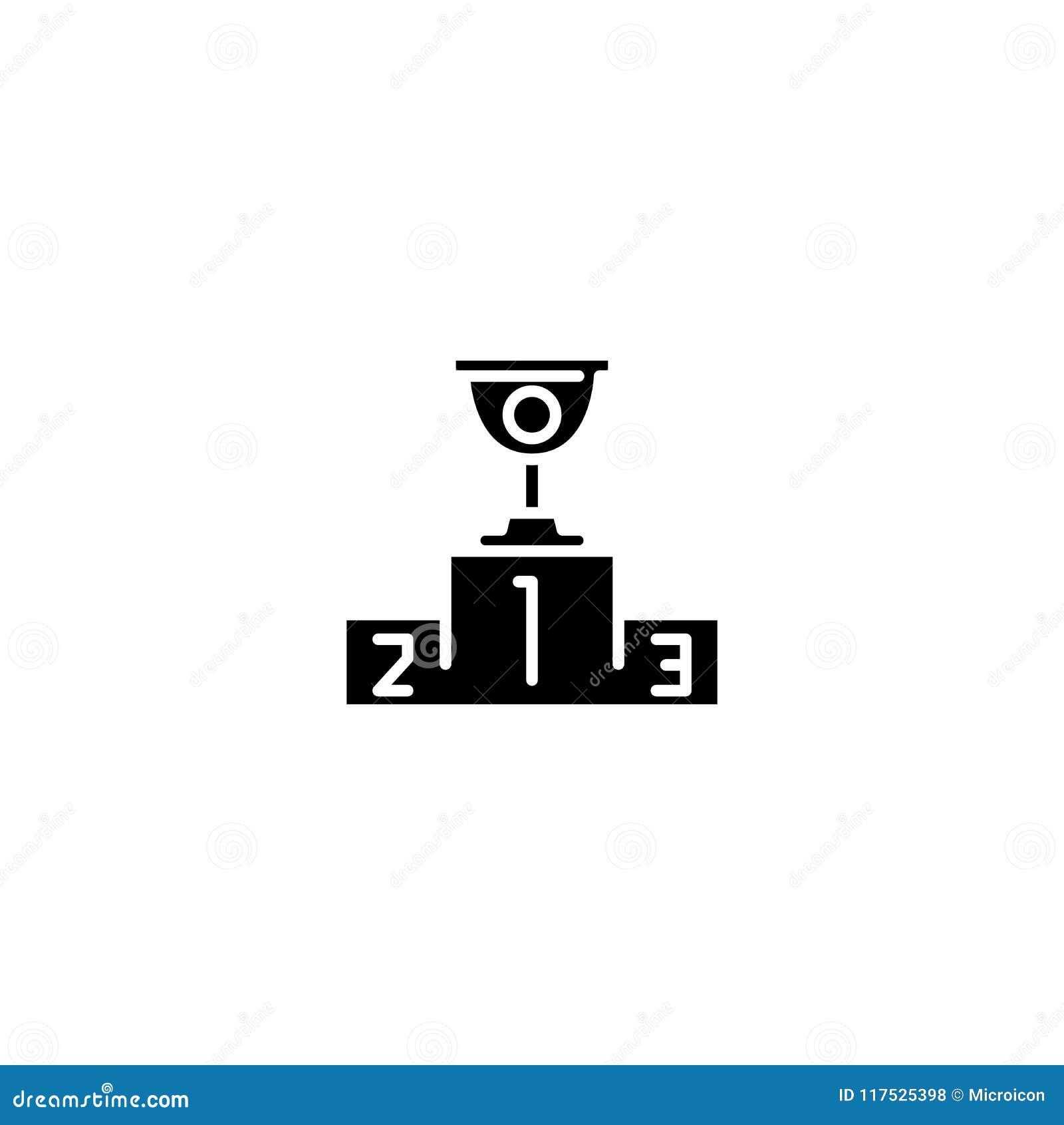 Kop voor het eerste zwarte pictogramconcept Kop voor het eerste vlakke vectorsymbool, teken, illustratie