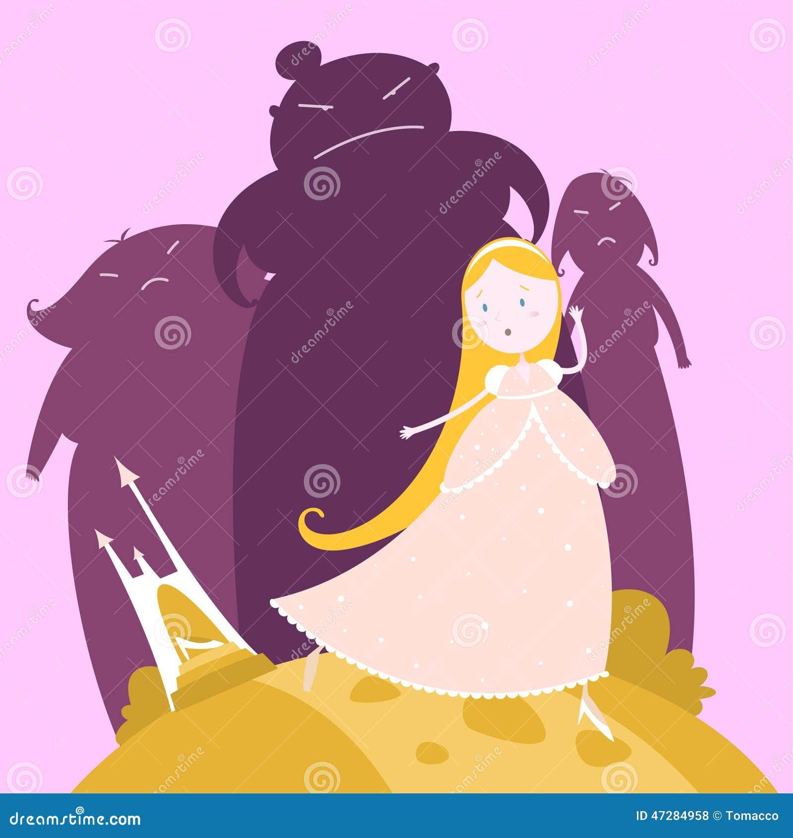 Kopciuszek I Jej Siostry Bajka Ilustracji Ilustracja Zlozonej Z