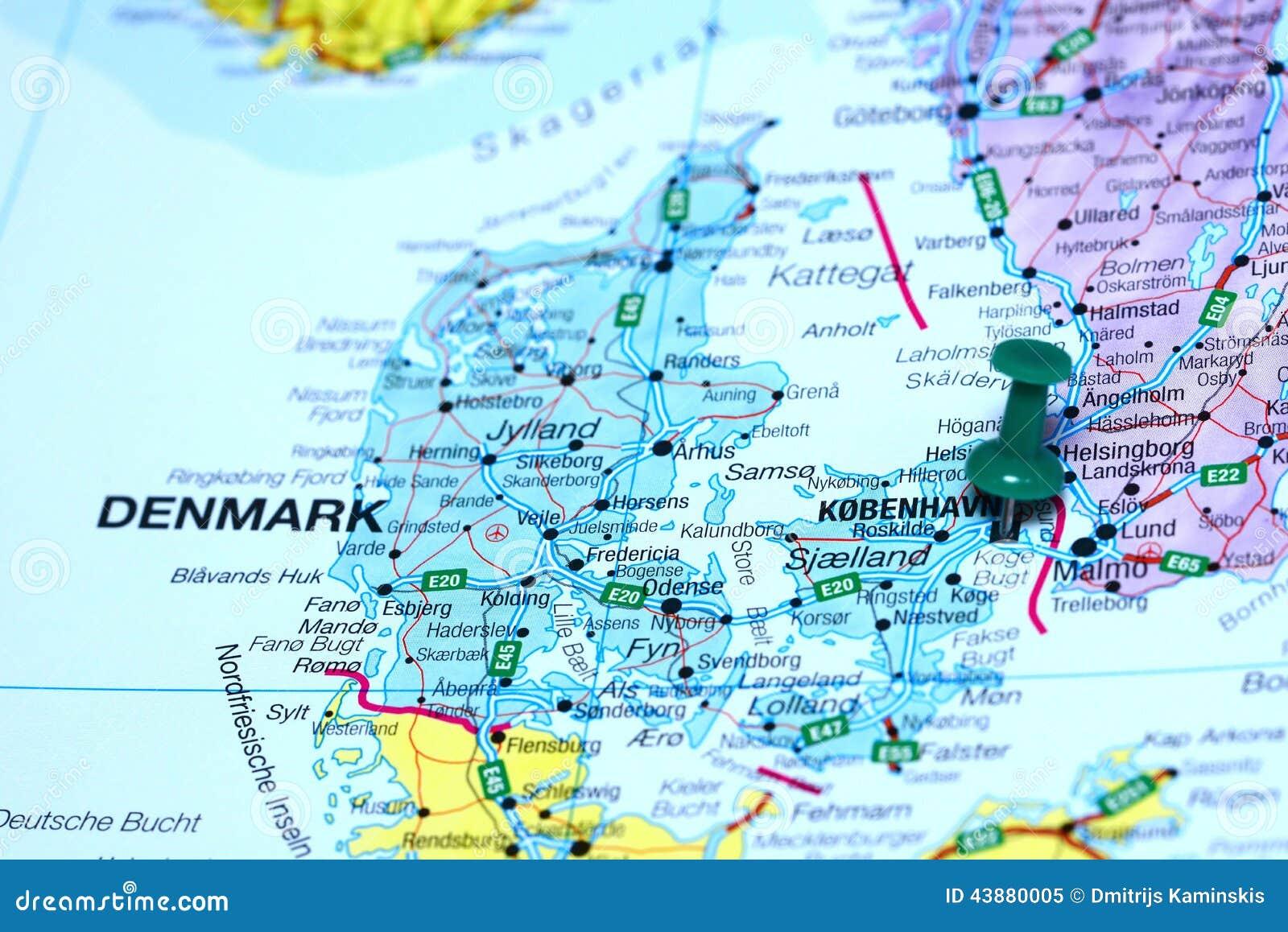 Kopenhaga Przyczepial Na Mapie Europe Obraz Stock Obraz Zlozonej