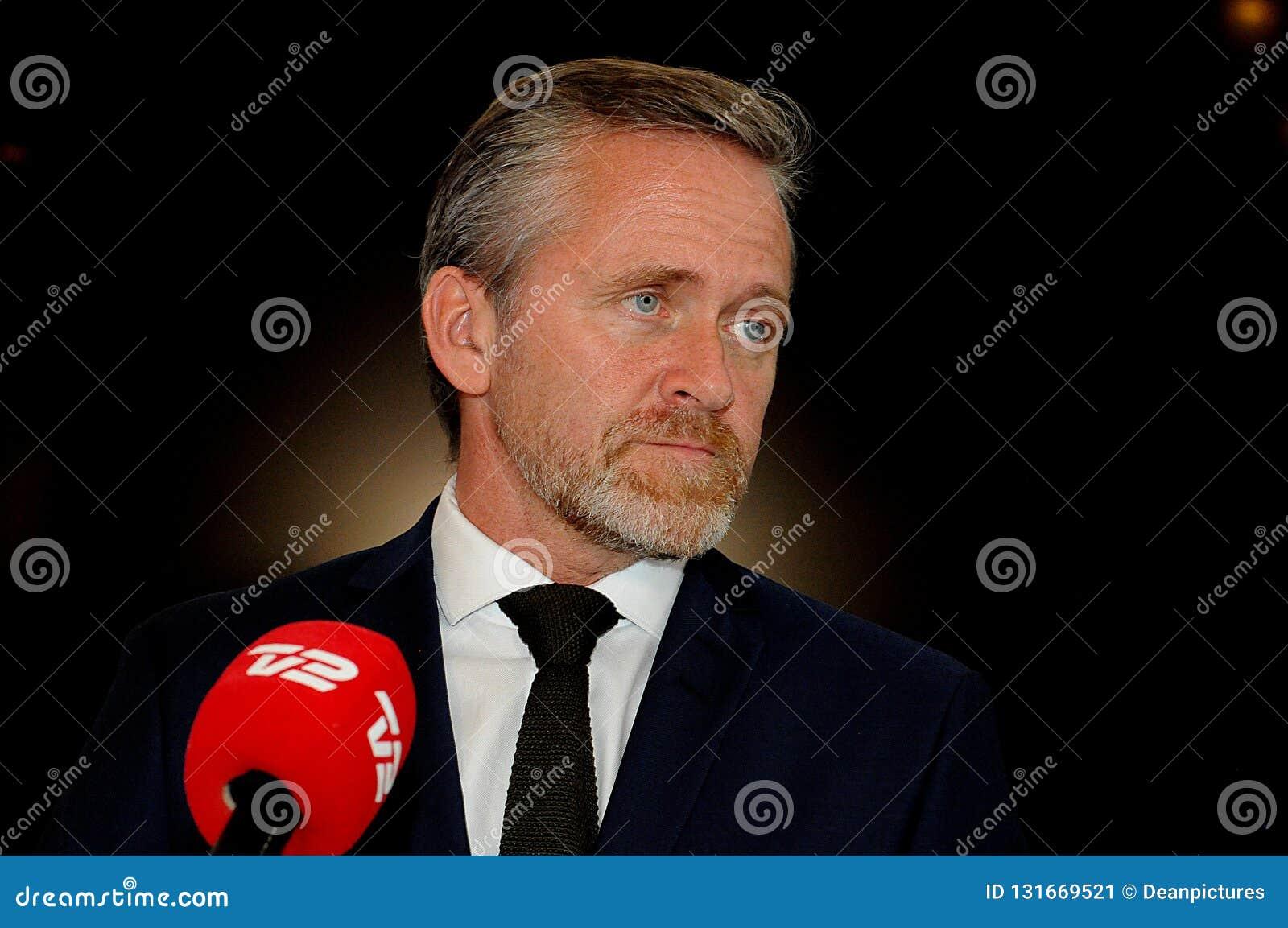 Kopenhagen/Denemarken 15 November 2018 Van drie ministersanders samuelsen van Denemarken de Deense minister voor buitenlandse zak