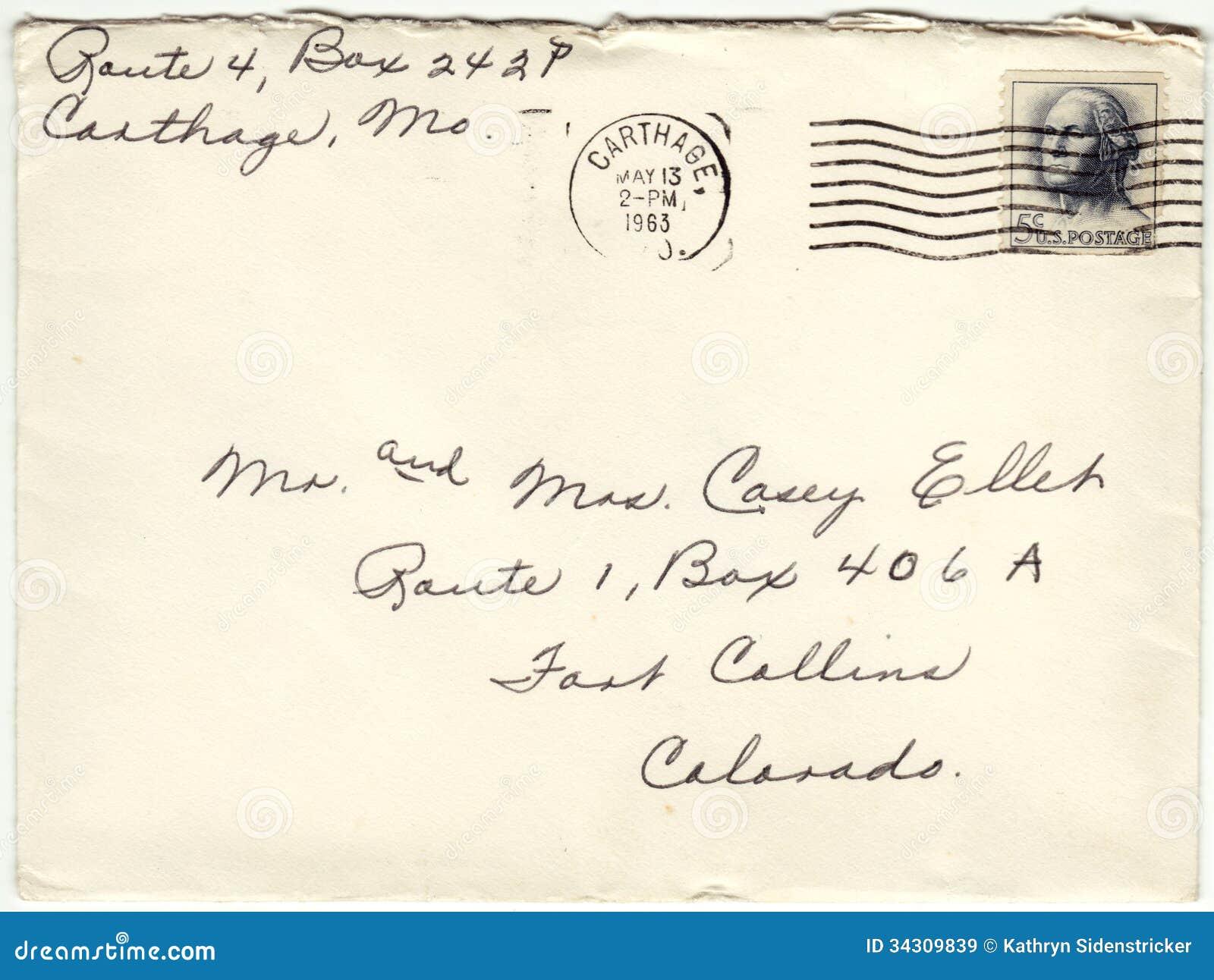 1963 koperta Odwoływający opłata pocztowa list