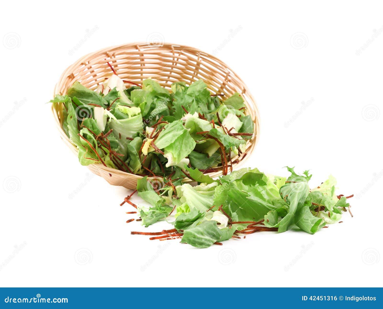 Kopfsalatblätter und -rote Rübe im Korb