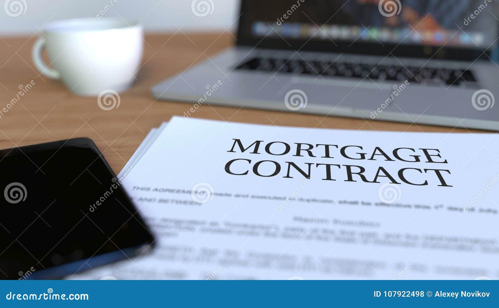 Kopia hipoteka kontrakt na biurku świadczenia 3 d