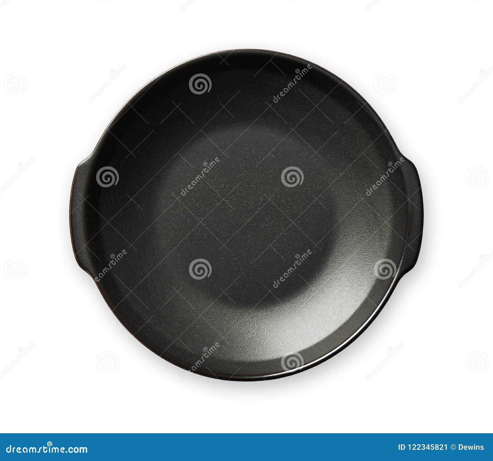 Kopia obchodzący się talerz, Puści czarni ceramics talerze, widok odizolowywający na białym tle z ścinek ścieżką od above