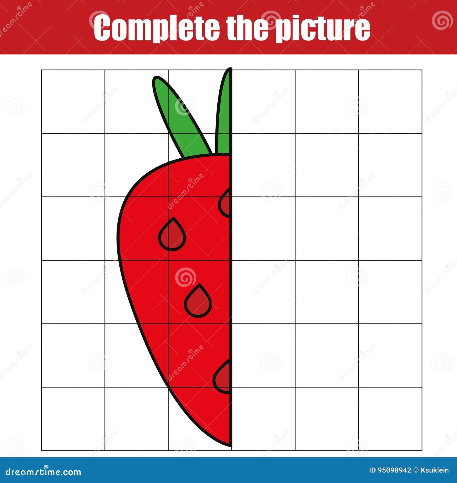 Kopia vid raster Avsluta den bildande leken för bildbarn som färgar sidan Ungeaktivitetsark med jordgubben