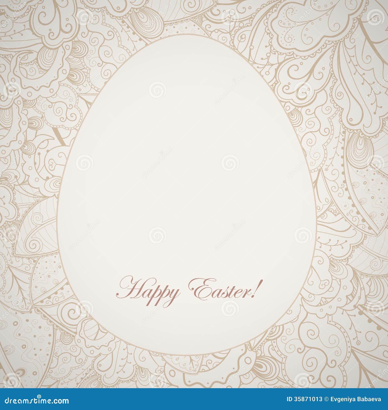 Kopieren Sie Eleganten Ostern-Rahmen Mit Ei Und Kaninchen. Vektor ...