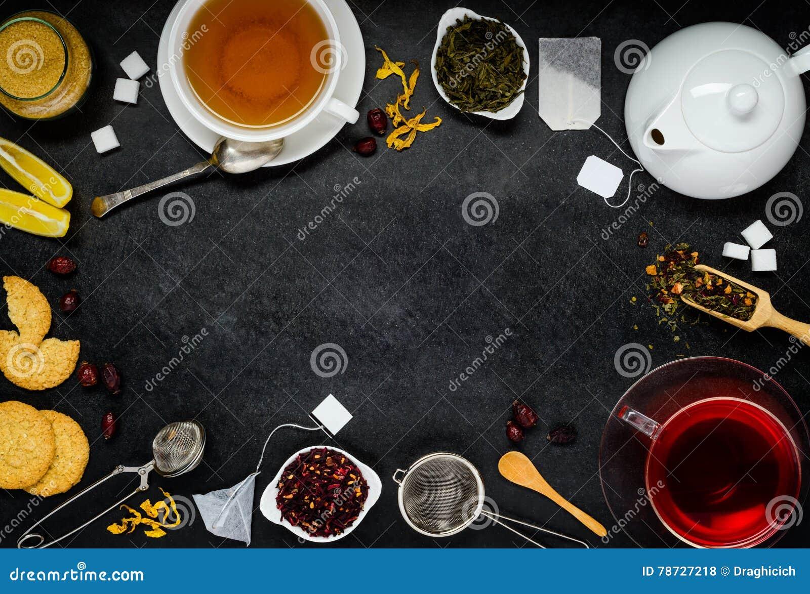 Kopieringsutrymmeram med te och ingredienser