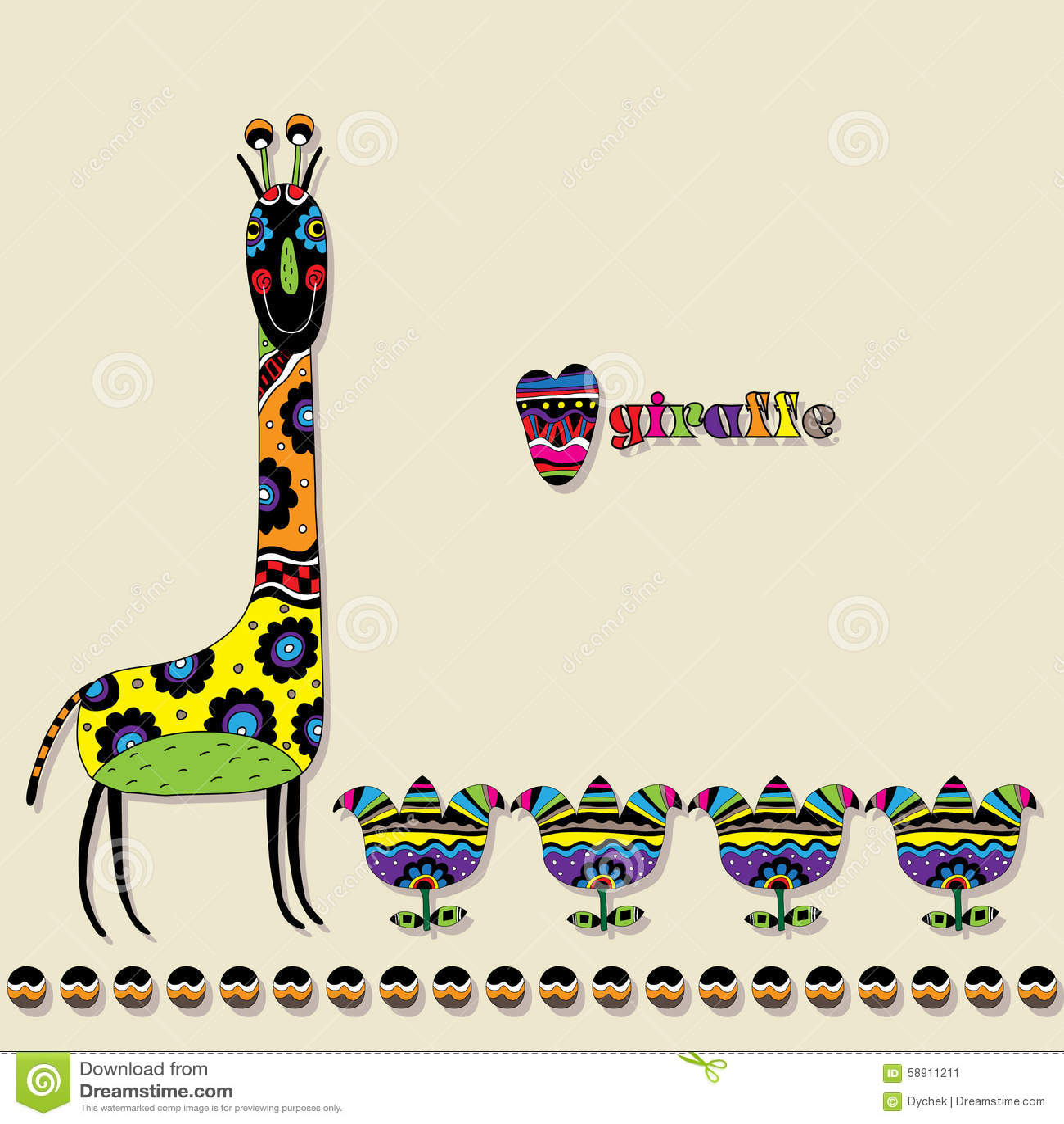 kopierte giraffe mit blumen und einer aufschrift auf englisch vektor abbildung bild 58911211. Black Bedroom Furniture Sets. Home Design Ideas