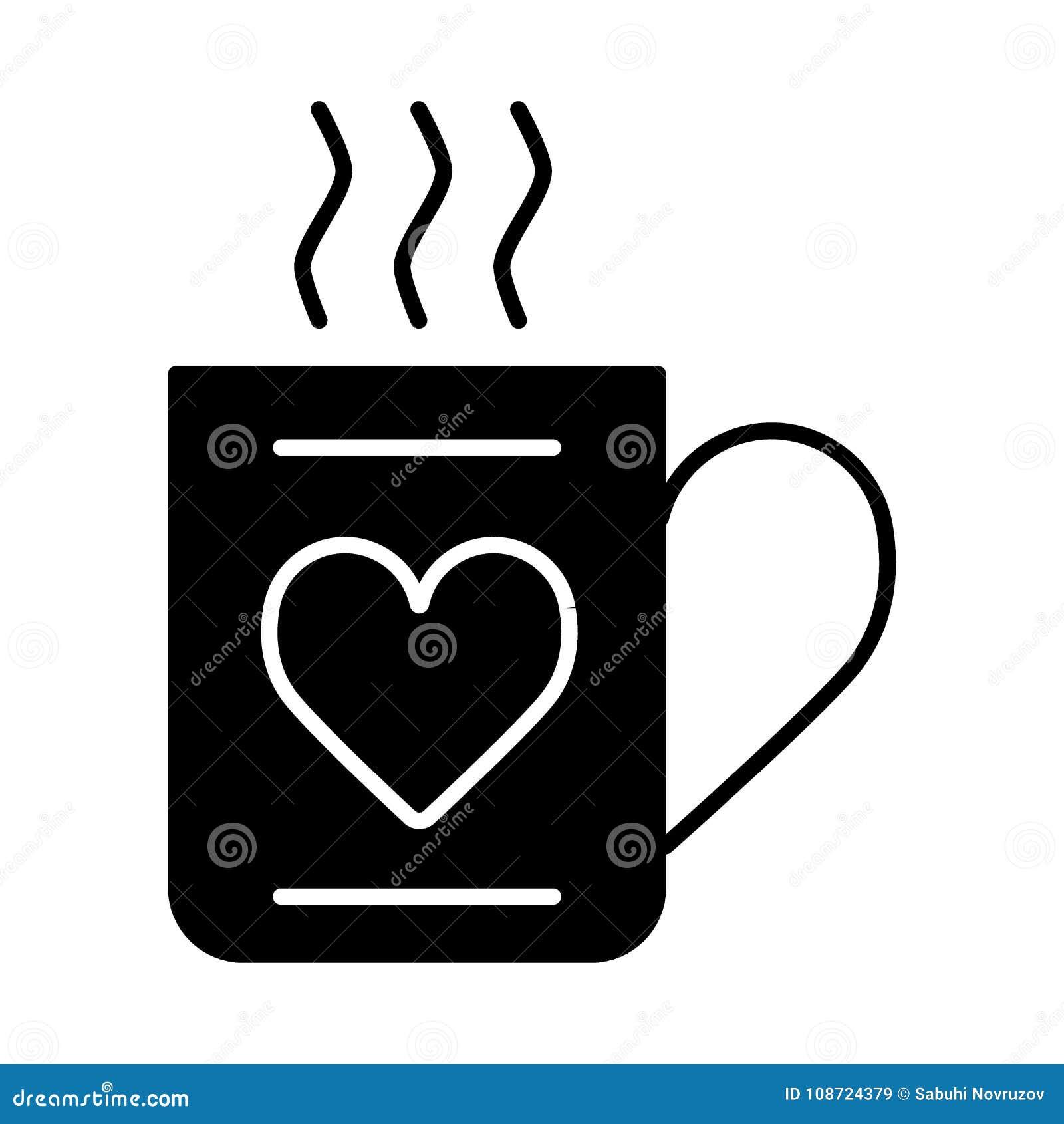 Kopp av den varma drink- och hjärtasymbolsvektorn, fyllt plant tecken, fast pictogram som isoleras på vit Dag för förälskelse- oc