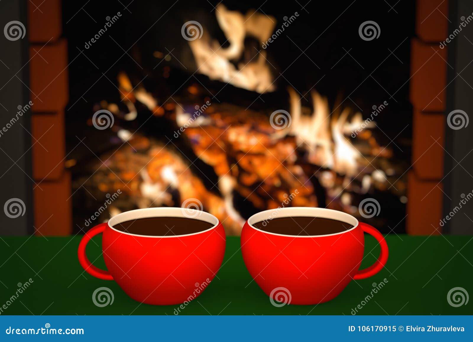 Kopp av den varma drinken framme av den varma spisen