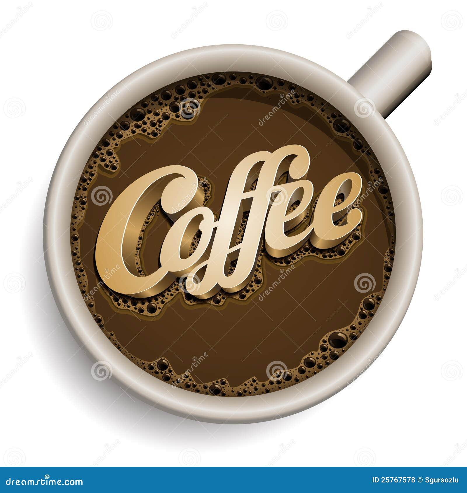 Kopp av kaffe med kaffetext.