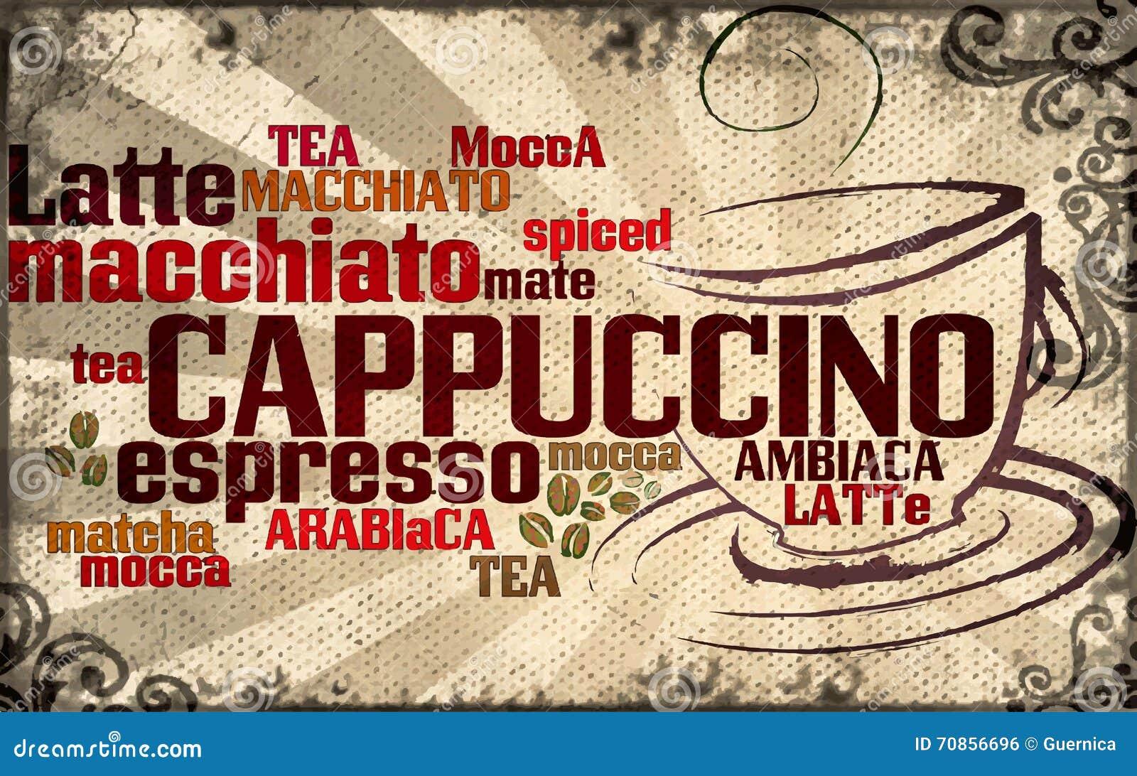 Kopp av kaffe som göras från typografi