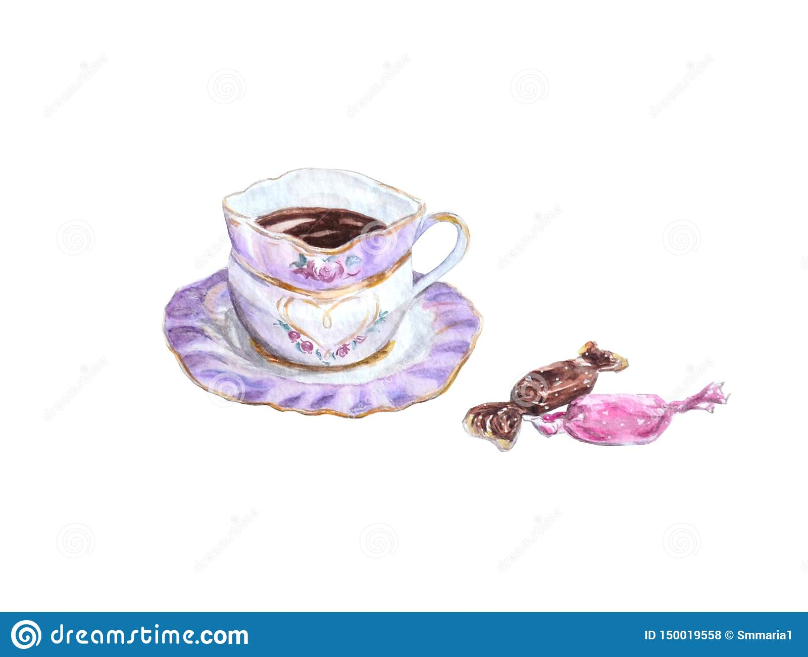 Kopp av svart kaffe med godisar i rosa signaler som isoleras på vit bakgrund