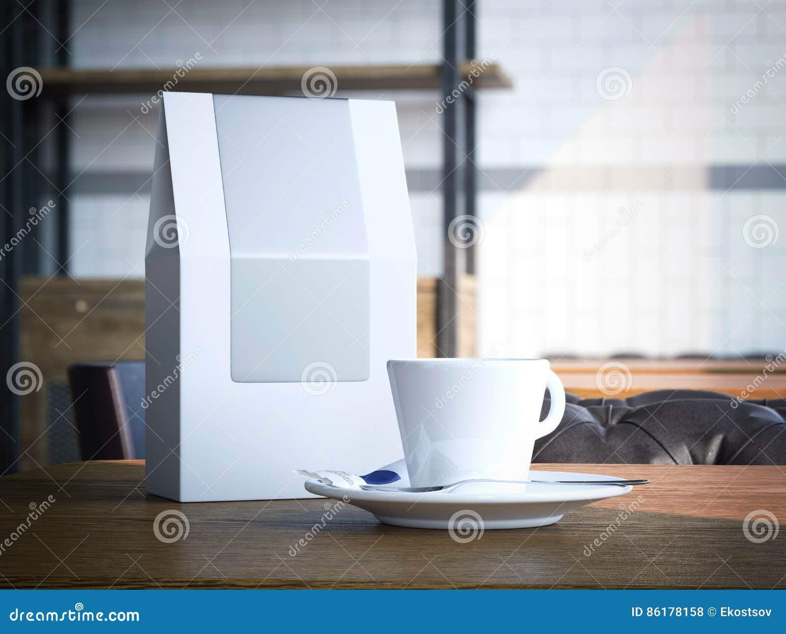 Kopp för tom pappers- påse och vit framförande 3d