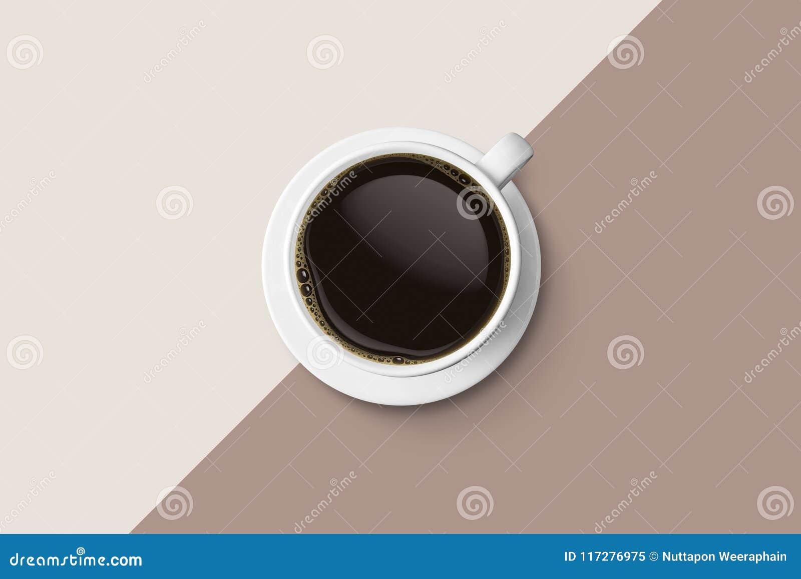 Kopp för vitt kaffe och varm espressokaffeisolat på bac för två signal