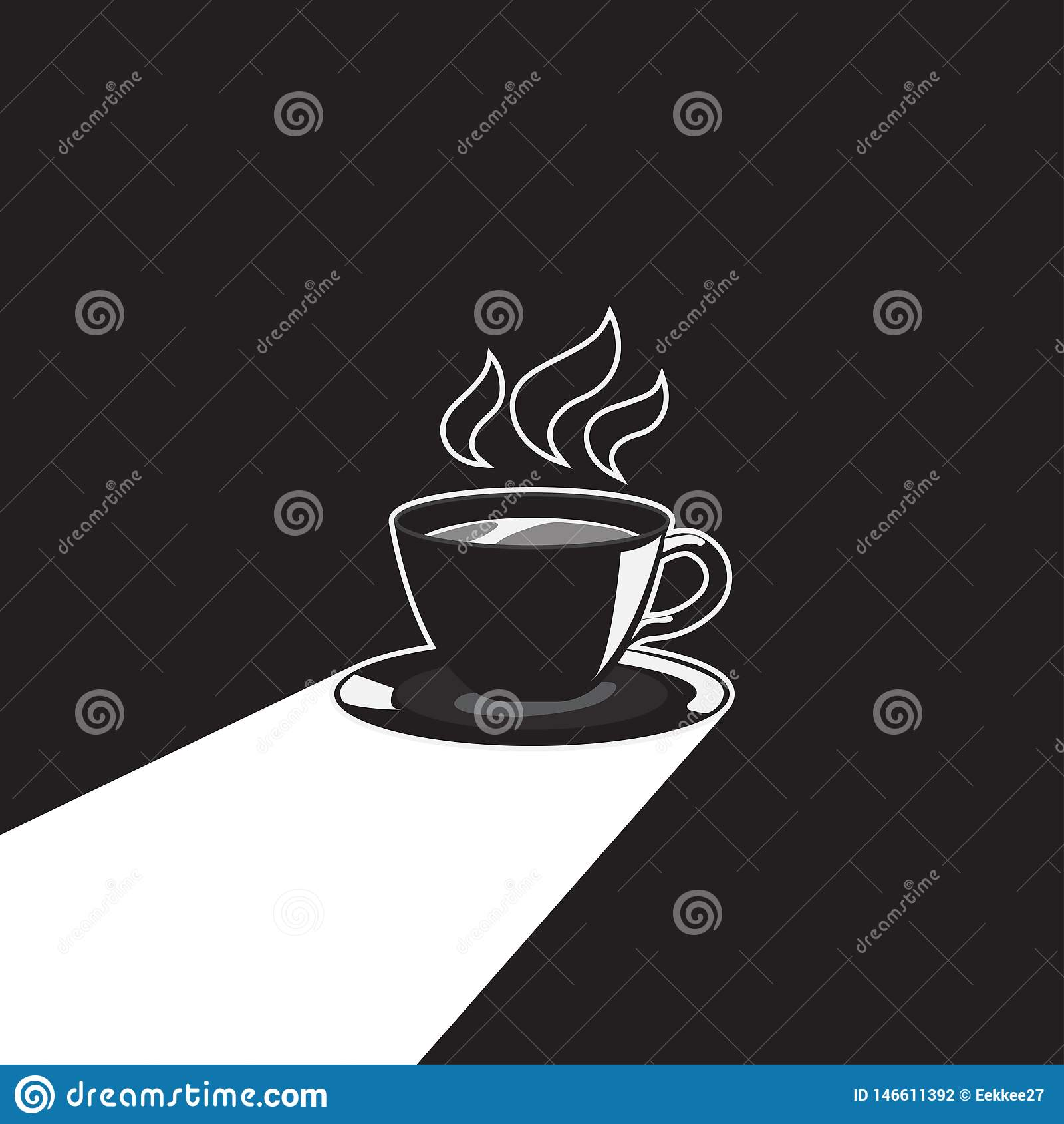 Kopp kaffe med l?ng skugga vektor illustration