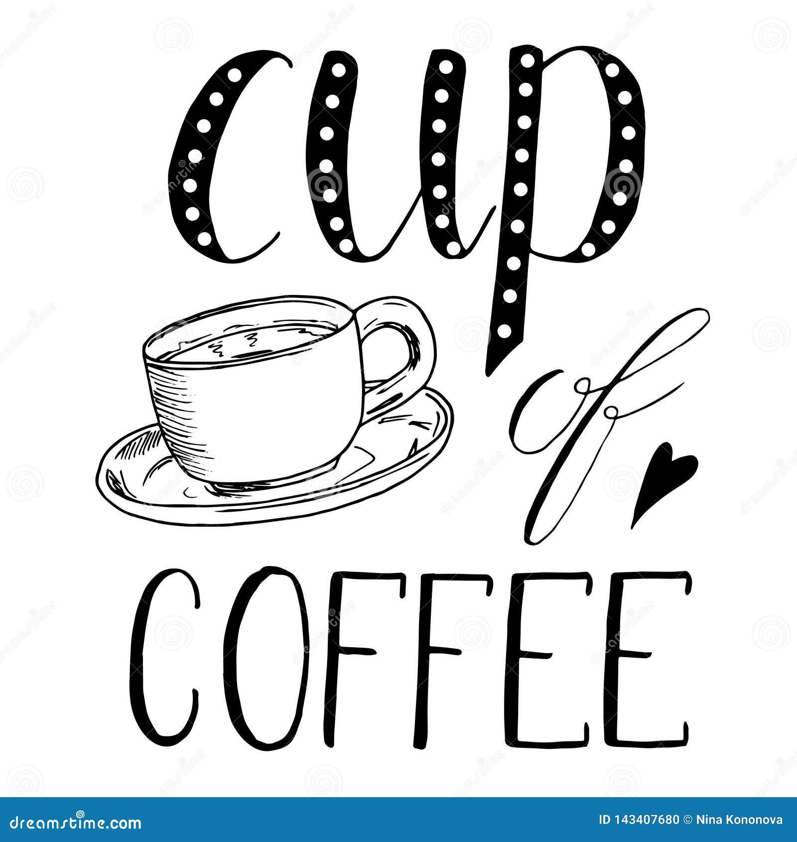Kopp te kaffe Den drog handen skissar illustrationen på vit bakgrund, designbeståndsdelar grönsaker för bakgrundsdesignmeny bokst