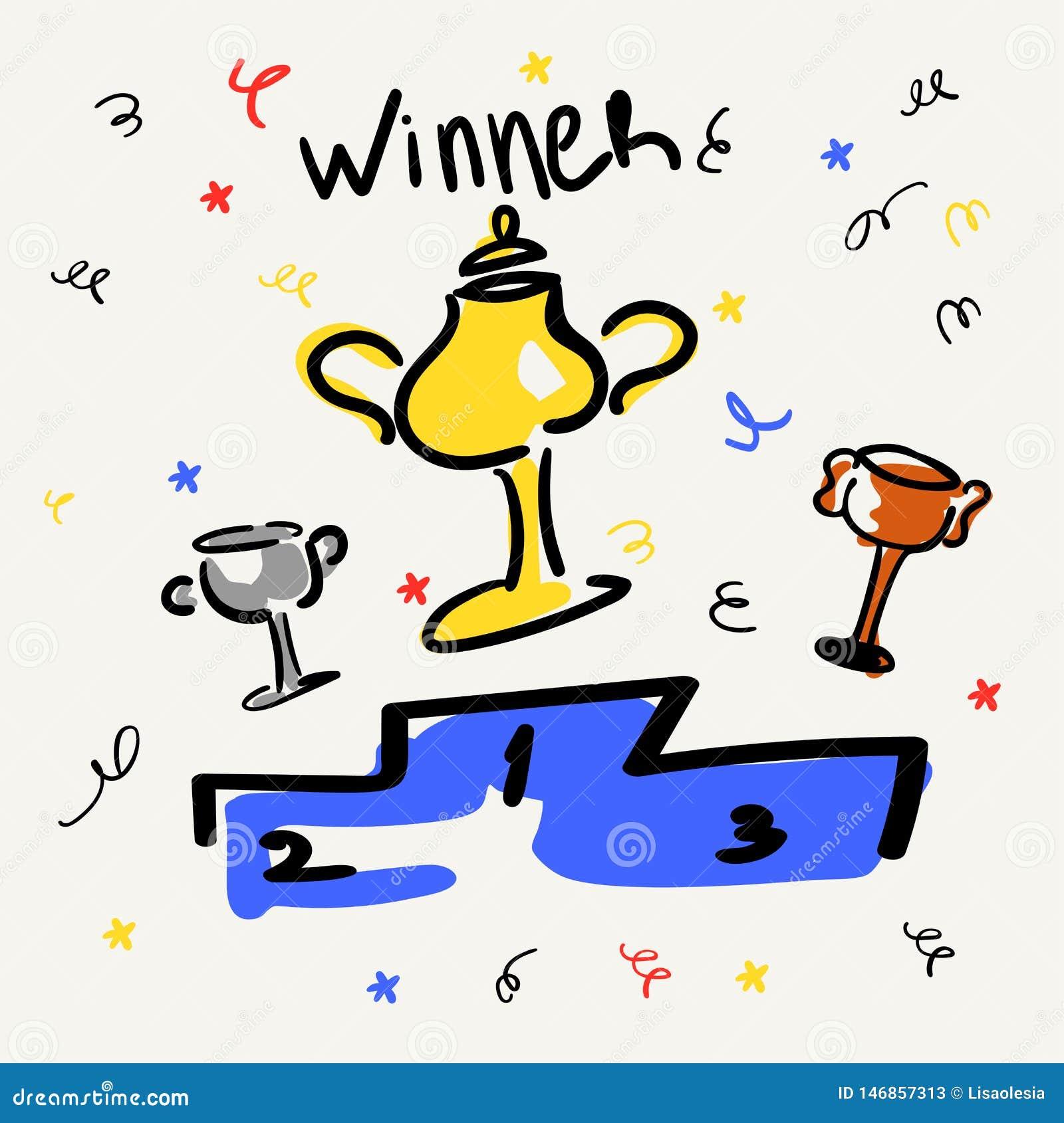 Koppen op het voetstuk Goud, zilver, brons Zaken en sportenoverwinningen Vectorillustratie in de stijl van schets of