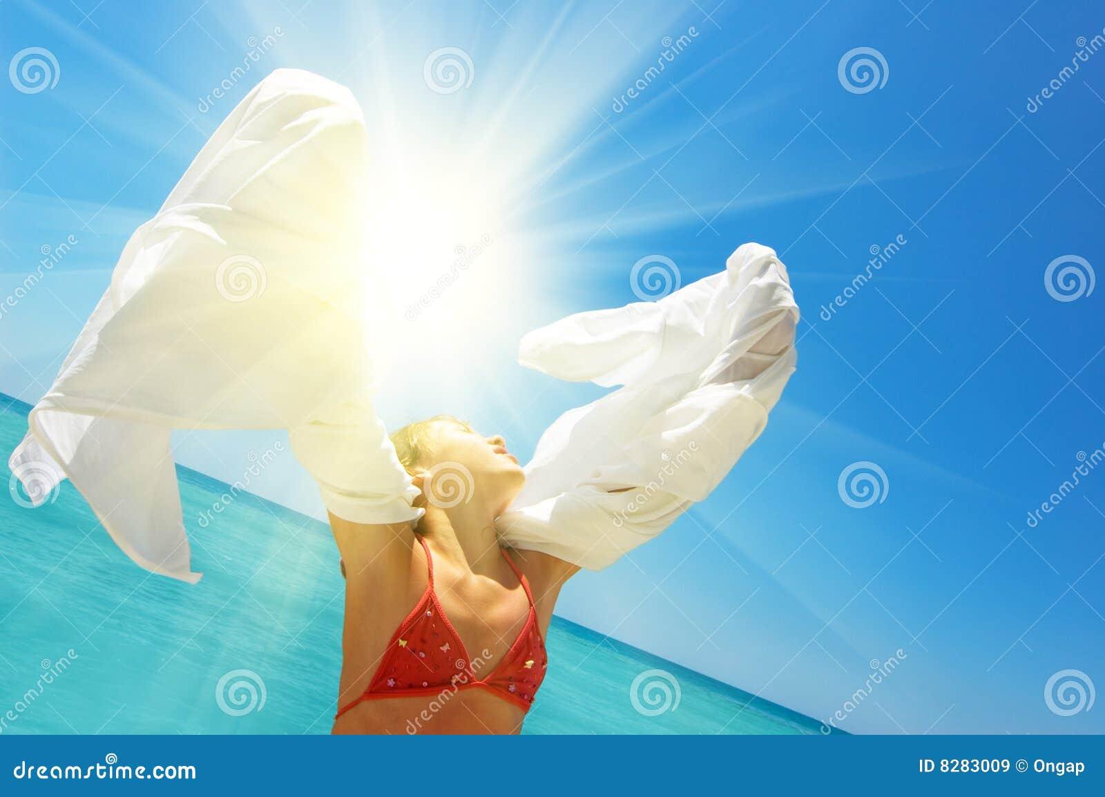 Koppla av för strandflicka