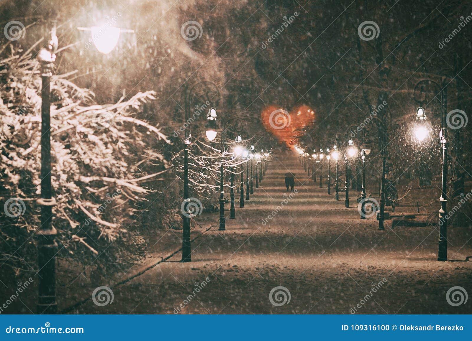 Koppla ihop förälskat på ett romantiskt datum går till och med den snöig nattvintern parkerar gränden med härliga lyktor som täck