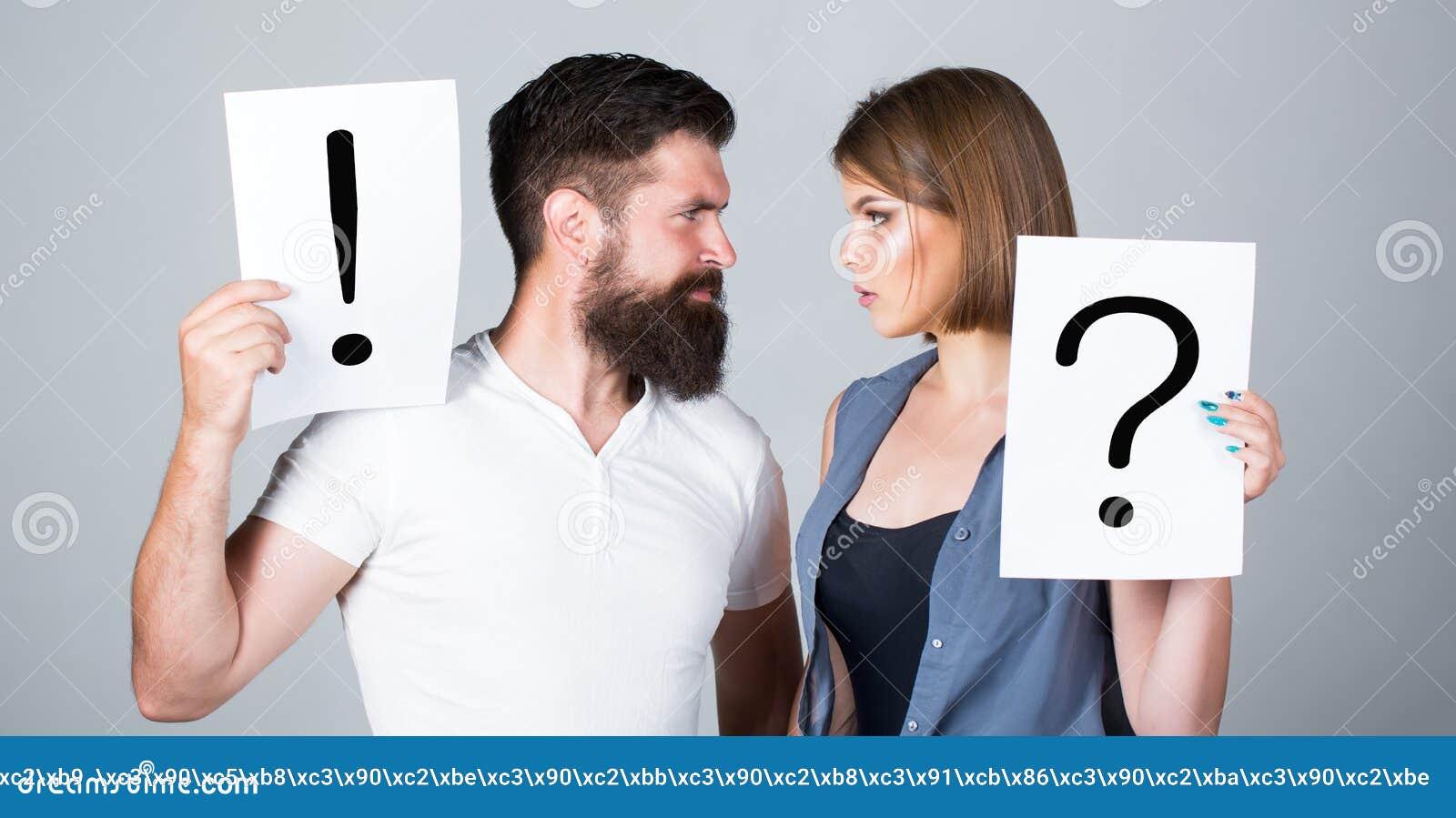 Koppla ihop grälar in markera frågan En kvinna och en man en fråga, utroppunkt Gräla mellan två personer eftertänksamt