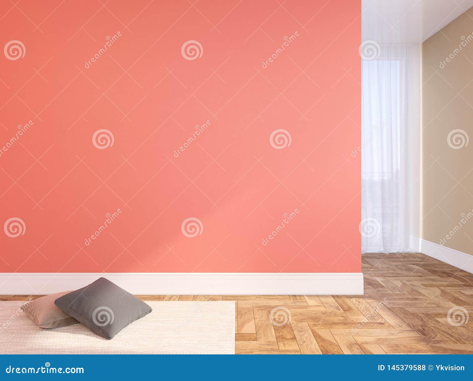 Koraal, roze blinde muur leeg binnenland met hoofdkussens, tapijt, gordijn en visgraat houten vloer