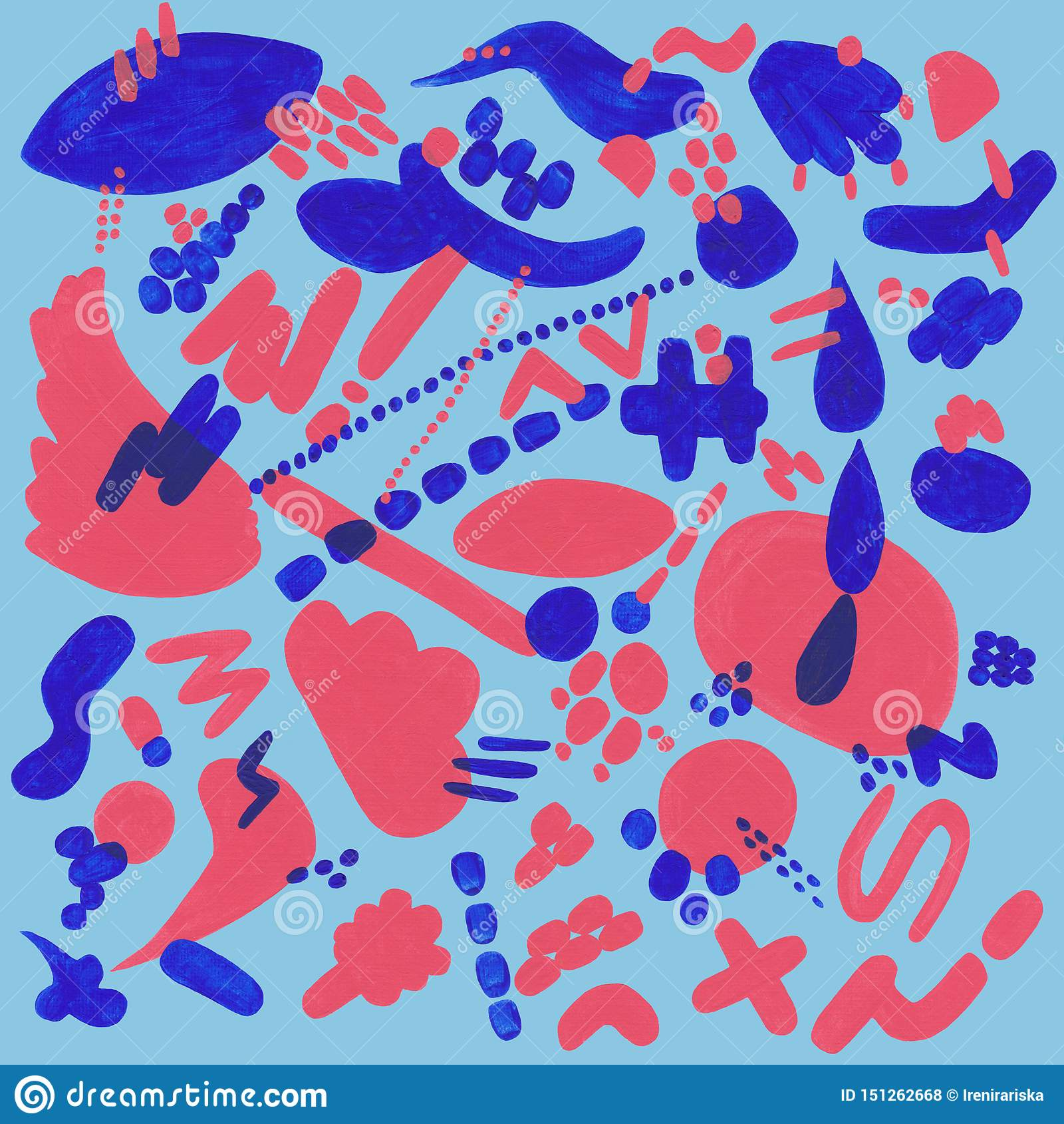 Korall och blå modell med abstrakta beståndsdelar