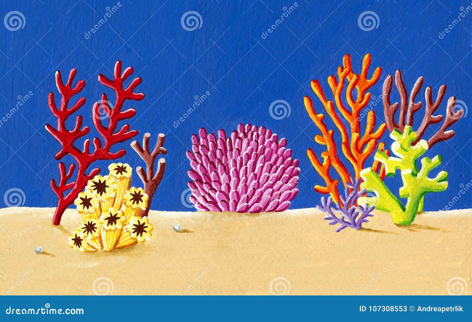 Korallrev under havsillustrationen