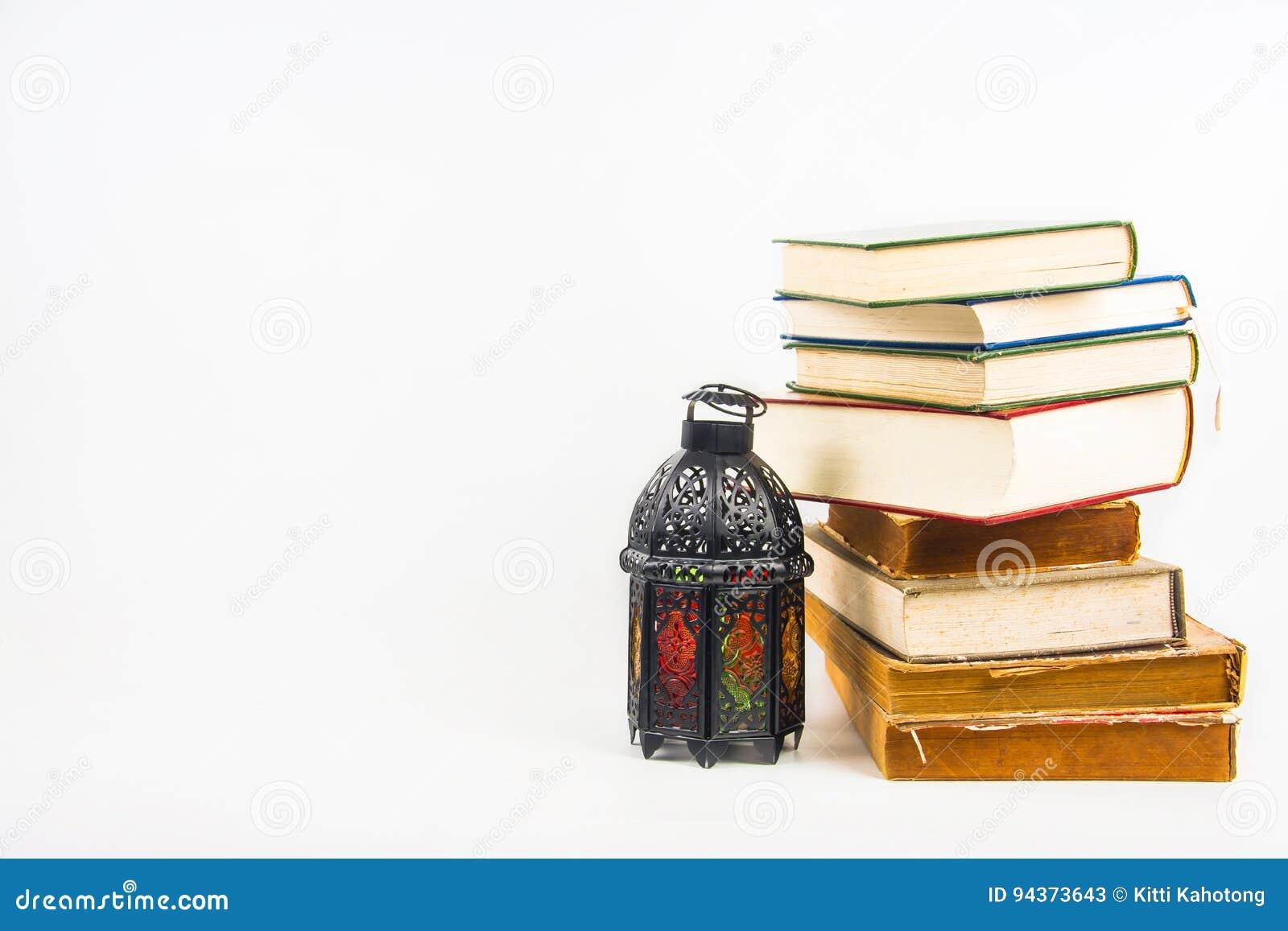 Koran Holy Book Of Muslims With Lightened Lantern Style Arab