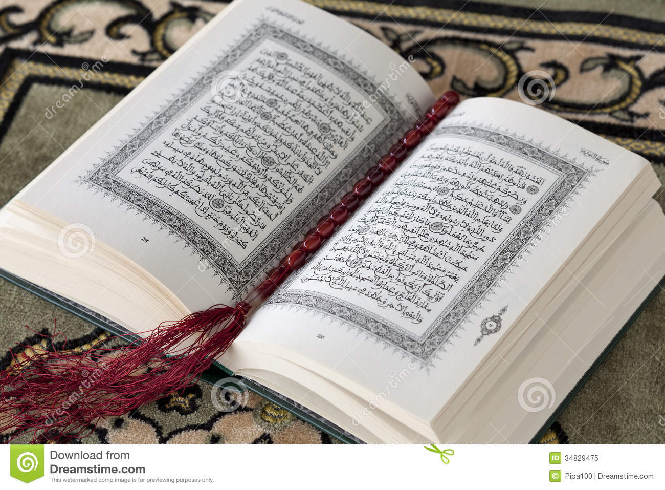 koran and the prayer beads stock image image of script
