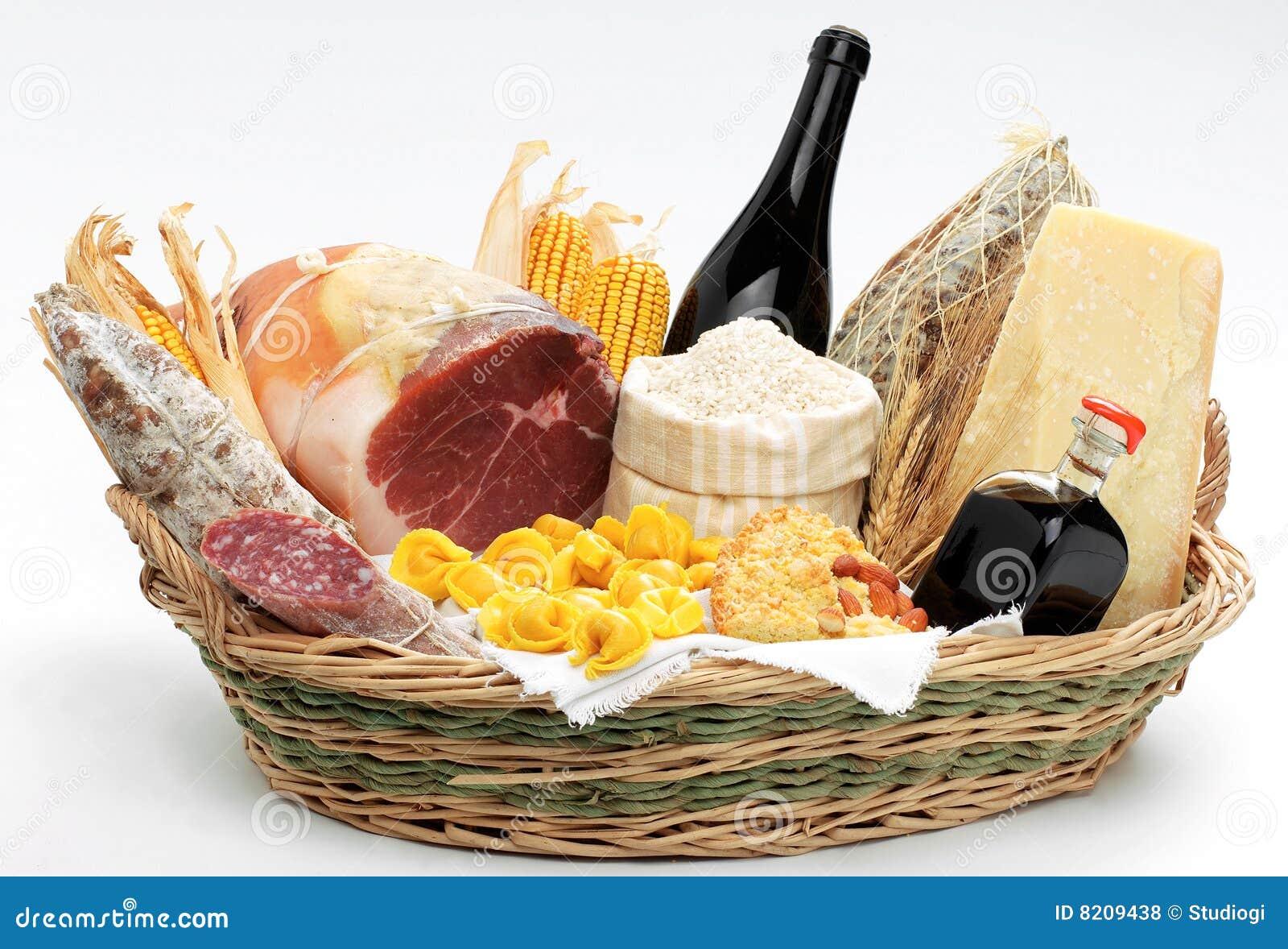Korb mit italienischer Nahrung