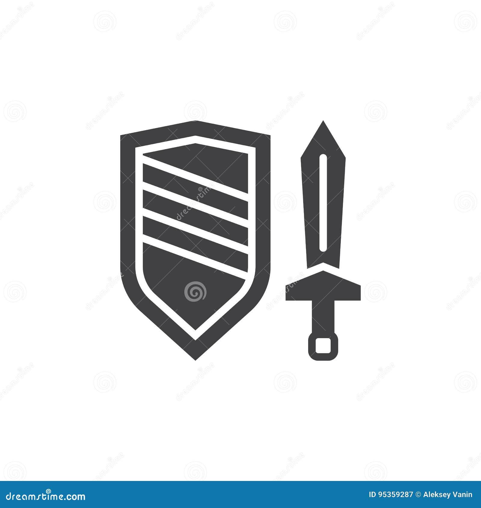 Kordzika i osłony ikony wektor, wypełniający mieszkanie znak, stały piktogram