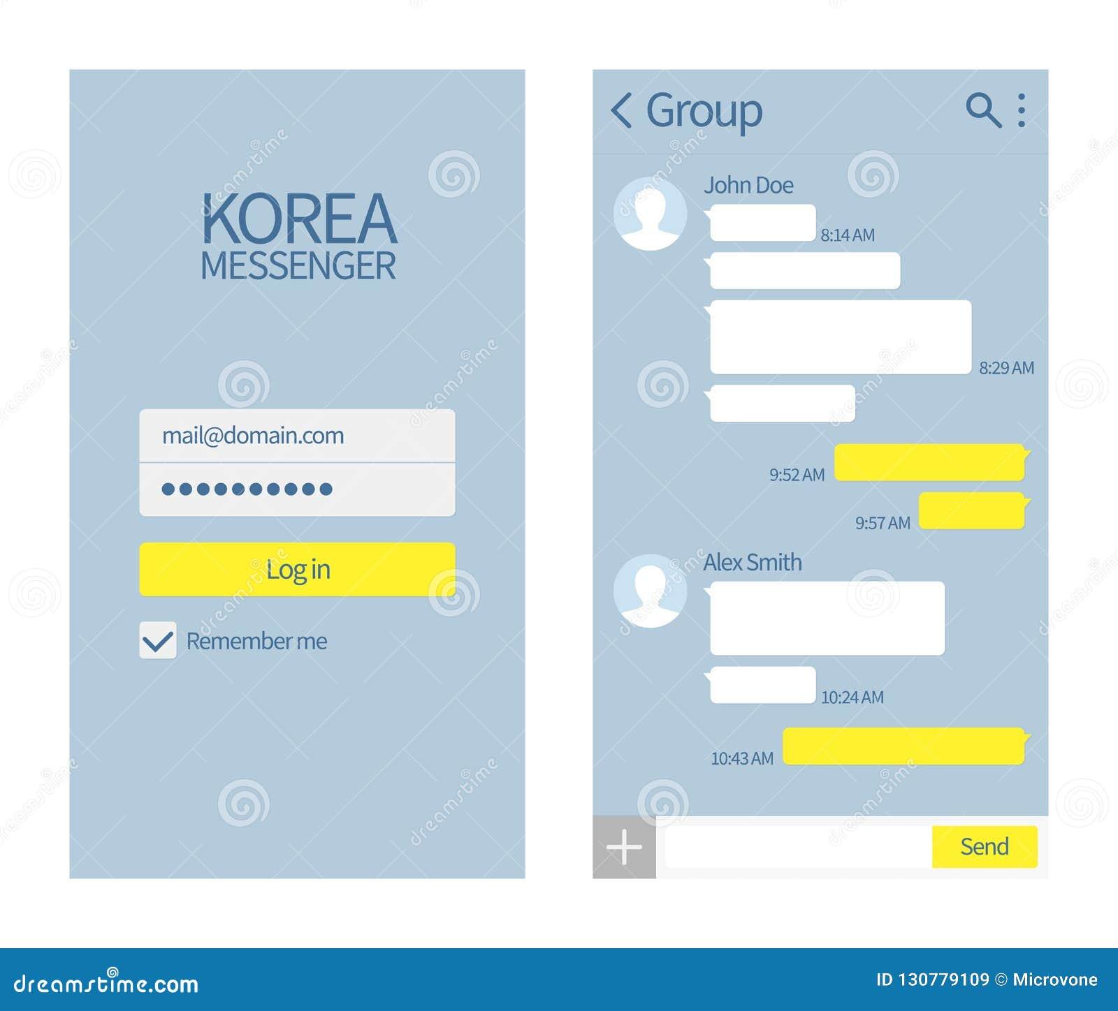 Koreański goniec Kakao rozmowy interfejs z gadek pudełkami i ikony wiadomości wektorowym szablonem