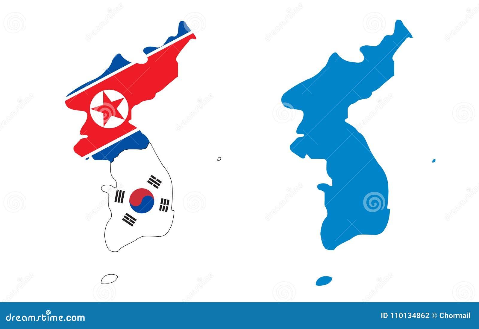 Korea översikt med norr och söder för flagga