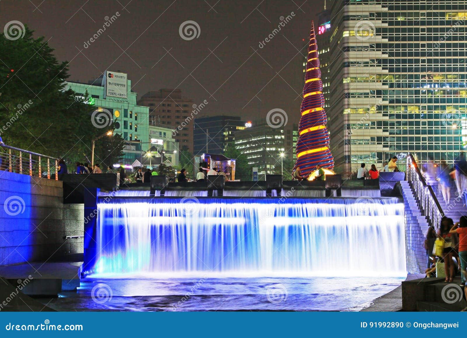 Korea Seoul Cheonggyecheon Stream And City Night Scenes