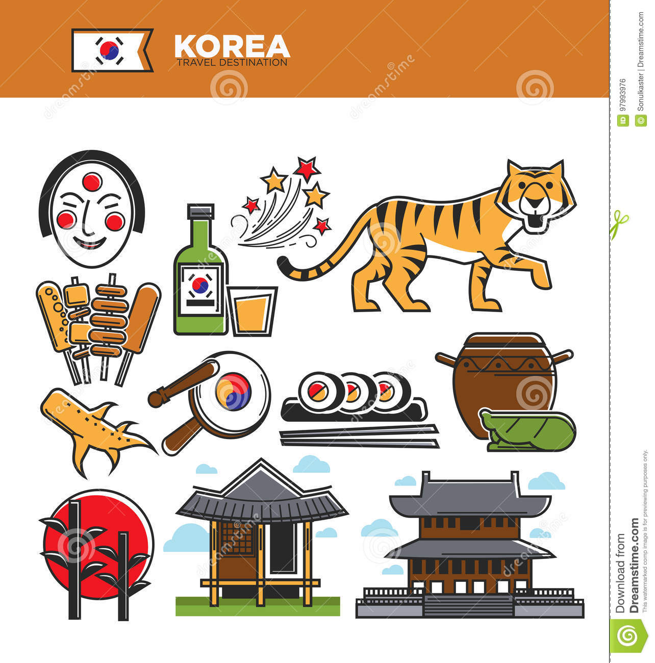 Korea travel famous landmarks and korean culture traditional korea travel famous landmarks and korean culture traditional tourist attractions vector icons biocorpaavc Image collections