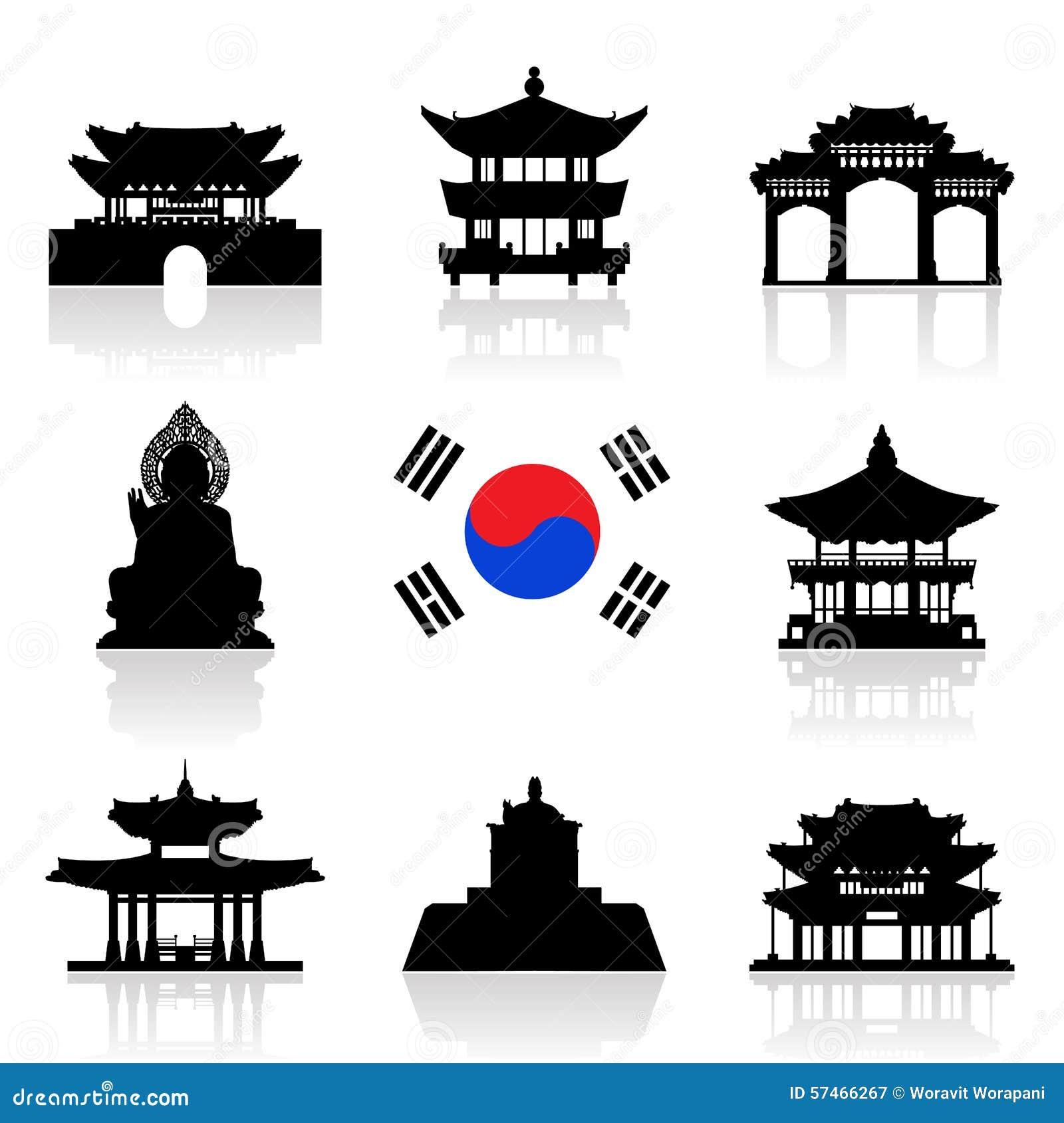 Korea Travel Icon Set Stock Vector Illustration Of