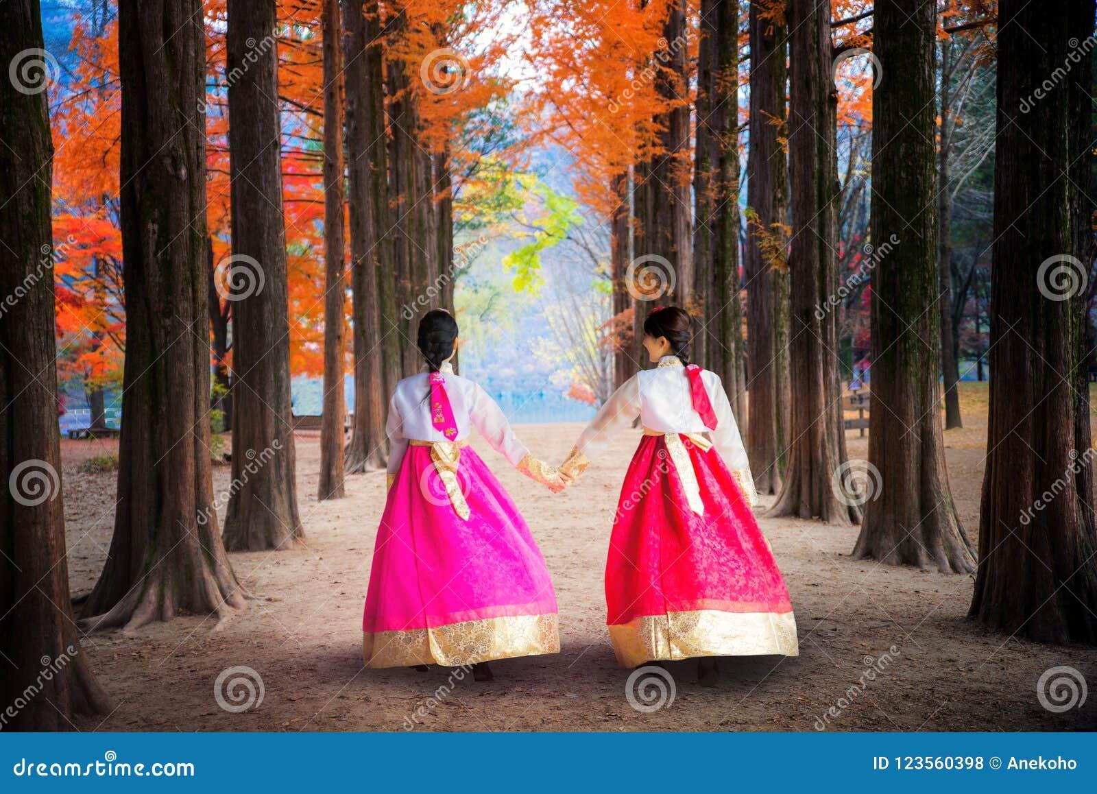 Koreaans meisje die in namipark lopen in namieiland