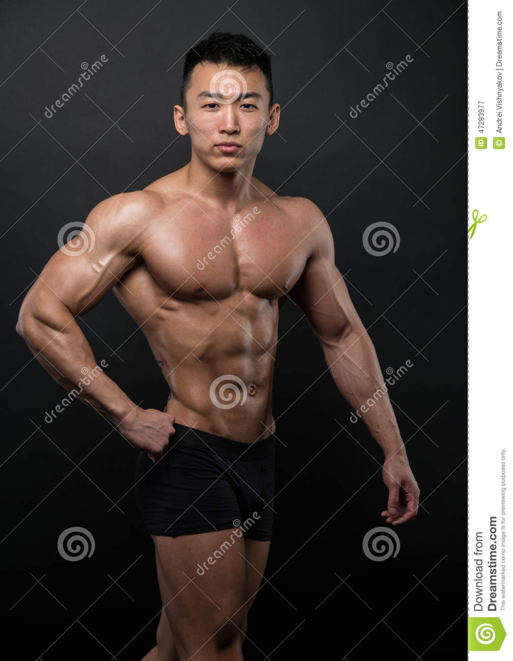 Muscled asian men can