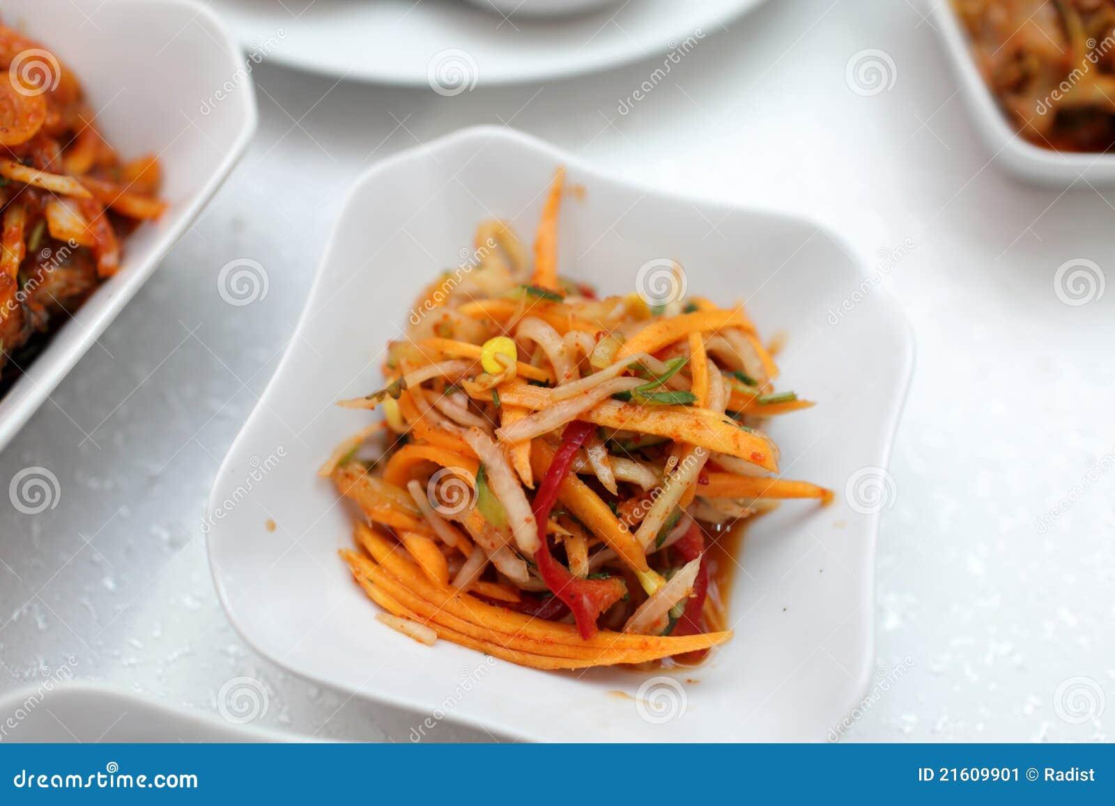 It is korean spicy carrot salad in the restaurant