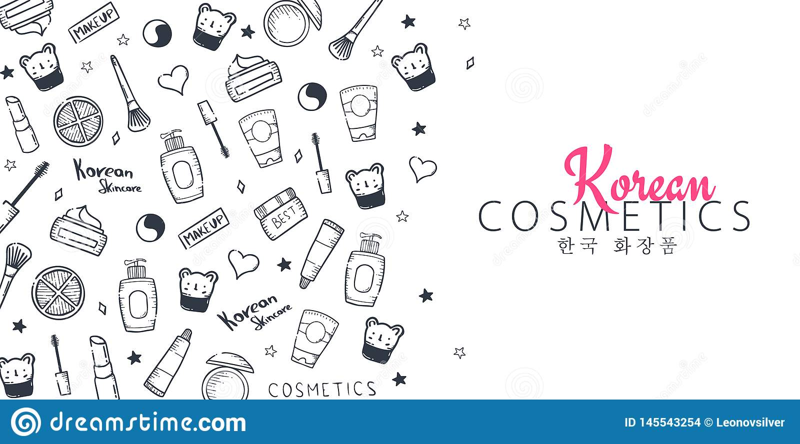 Korean Cosmetics K Beauty Banner With Hand Draw Doodle Background Skincare And Makeup Translation Korean Cosmetics Stock Vector Illustration Of Isolated Beautiful 145543254