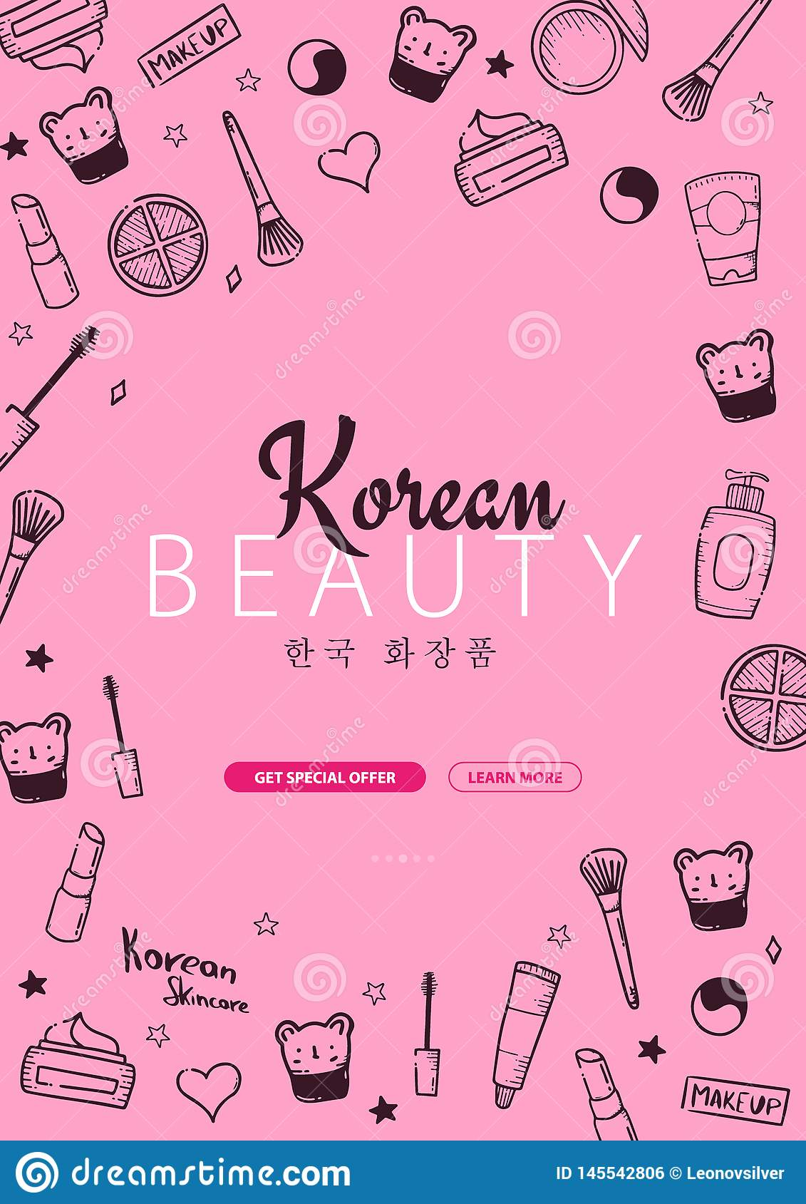 Korean Cosmetics K Beauty Banner With Hand Draw Doodle Background Skincare And Makeup Translation Korean Cosmetics Stock Vector Illustration Of Beauty Line 145542806