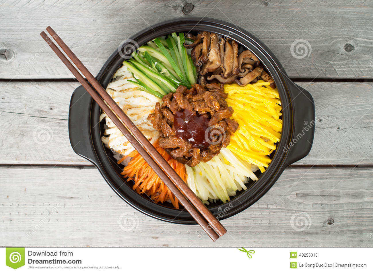 Korean cuisine beef bibimbap stock image image of for Cuisine wooden