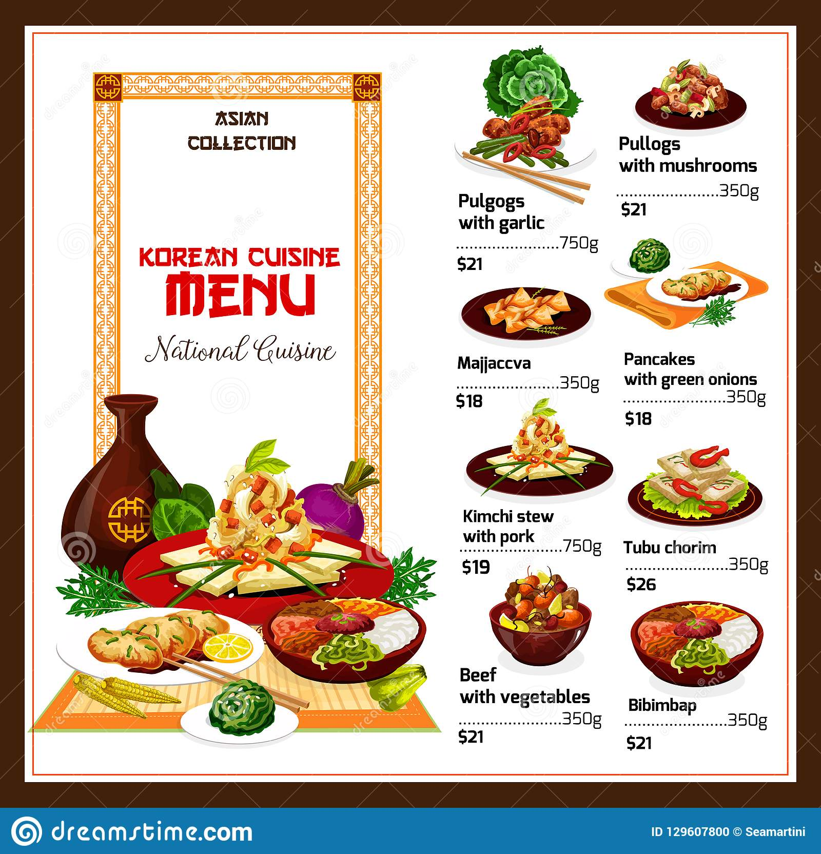 Korean Spicy Restaurant Food Dishes Stock Vector Illustration Of