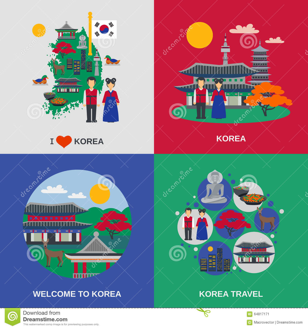 Korean Culture Symbols Flat Icons Set Stock Vector Illustration Of