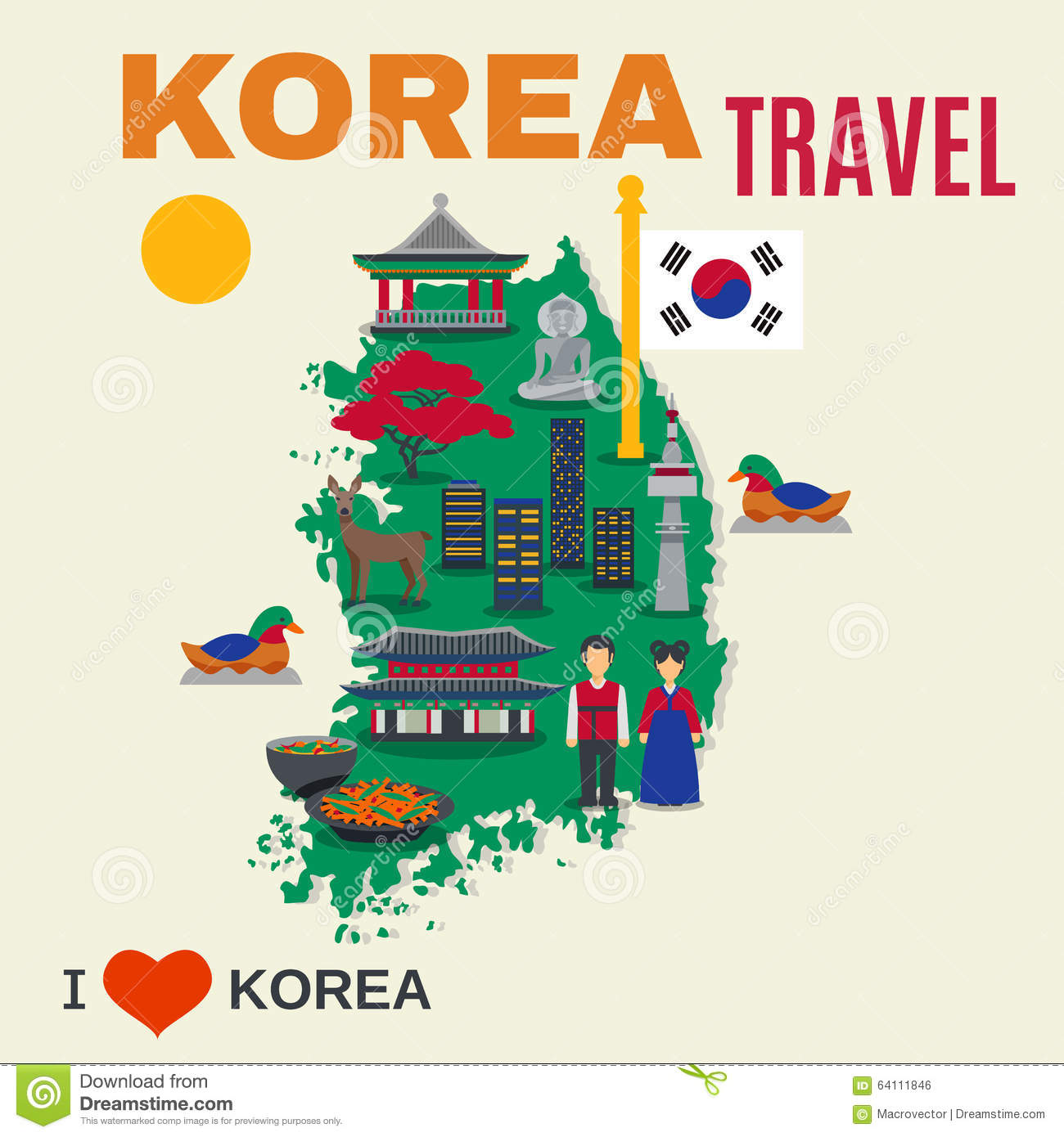 Korean Culture Symbols Map Travel Poster Stock Vector Illustration - National landmarks map