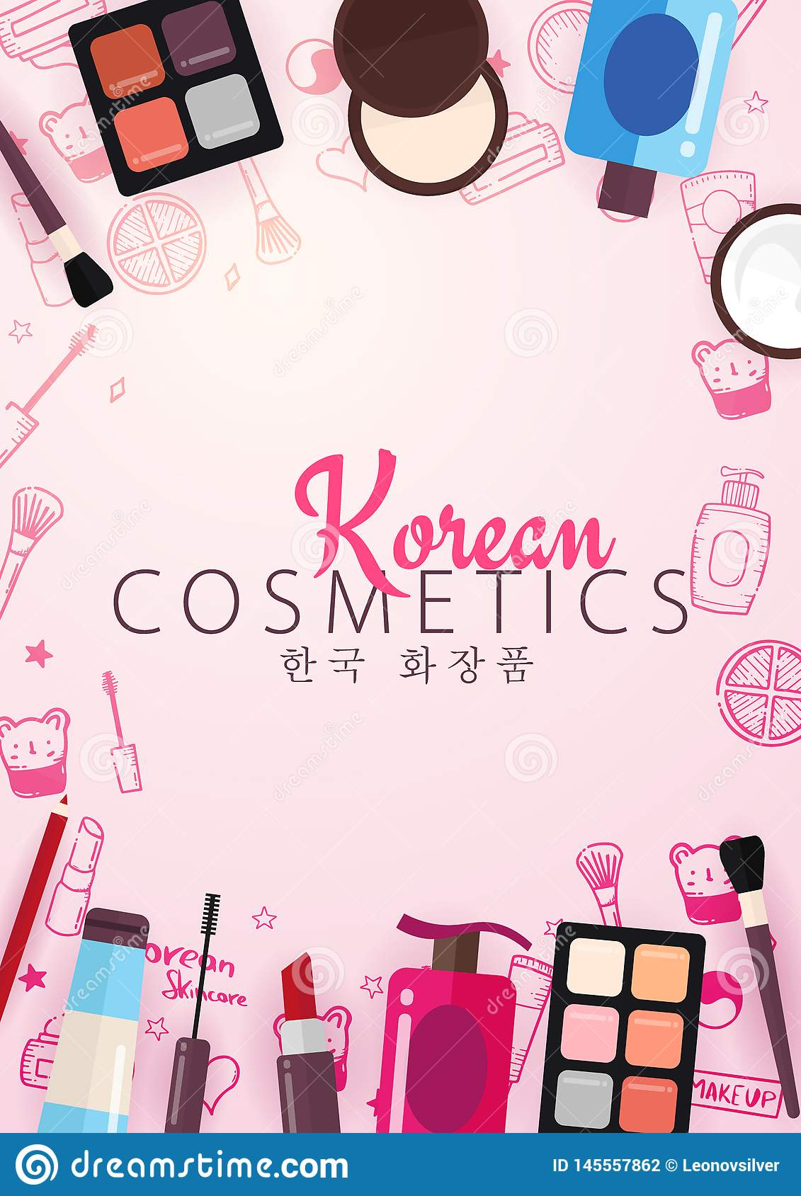 Korean Flat Cosmetics K Beauty Banner With Hand Draw Doodle Background Skincare And Makeup Translation Korean Stock Vector Illustration Of Cream Drawn 145557862