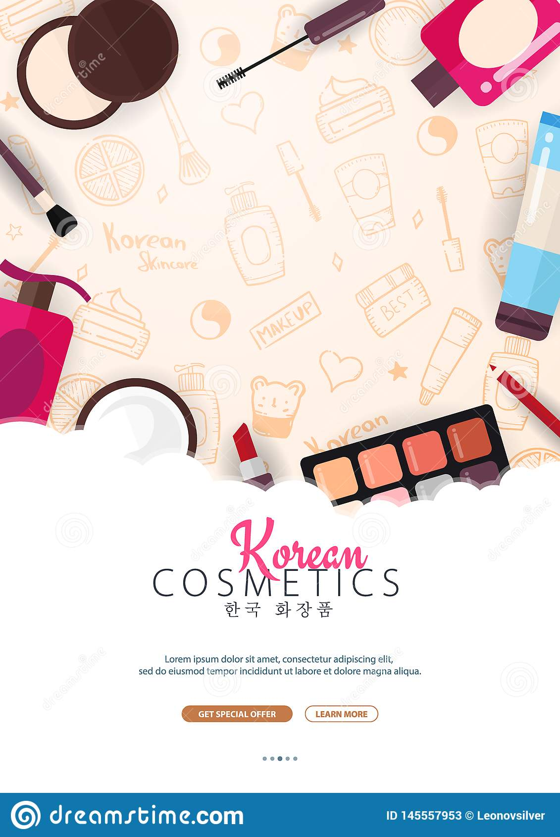 Korean Flat Cosmetics K Beauty Banner With Hand Draw Doodle Background Skincare And Makeup Translation Korean Stock Vector Illustration Of Girl Illustration 145557953